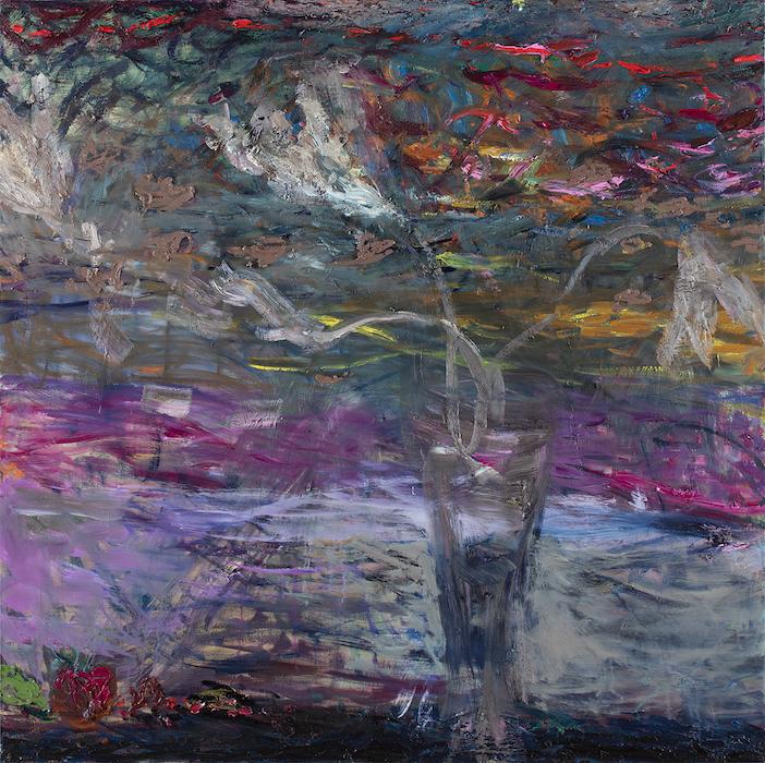 Taivas kuin lasimaalaus 2020, 150 x 150 cm