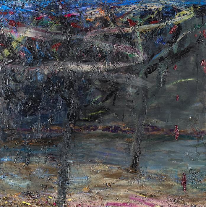 Nainen istahti puun alle, 140 x 140 cm, 2020