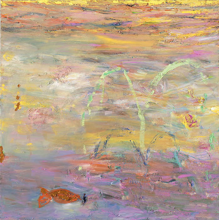 Kultakala (pääasia, että se ui vapaana), 110 x 110 cm, 2021