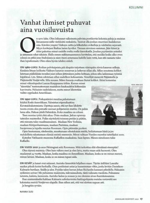 Vanhat ihmiset puhuvat aina vuosiluvuista, Nanna Susi, Kesäposti, 2021