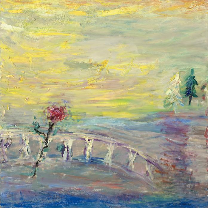 Valaistuneita öitä ja vähän aamuja, öljy kankaalle, 110 x 110 cm, 2021